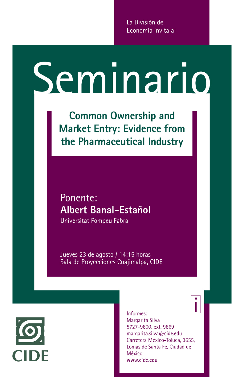 Seminario «Common Ownership and Market Entry: Evidence from the Pharmaceutical Industry»