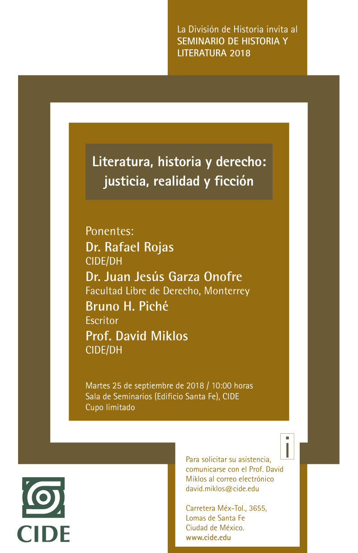 Seminario «Literatura, historia y derecho: justicia, realidad y ficción»