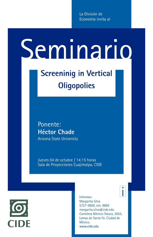 Seminario «Screening in Vertical Oligopolies»