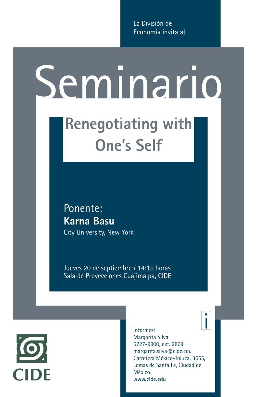 Seminario «Renegotiating with One´s Self»