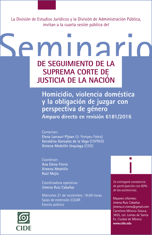 """Seminario """"DE SEGUIMIENTO DE LA SUPREMA CORTE DE JUSTICIA DE LA NACIÓN"""""""