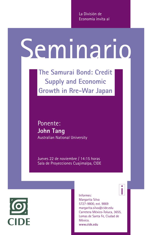 Seminario «The Samurai Bond: Credit Supply and Economic Growth in Rre-War Japan»