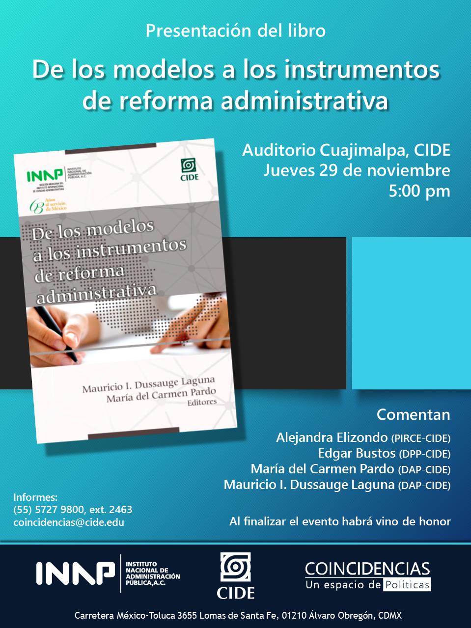 Presentación del libro «De los modelos a los instrumentos de reforma administrativa»