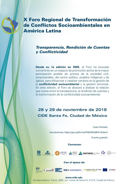 X Foro Regional de Transformación de Conflictos Socioambientales en América Latina