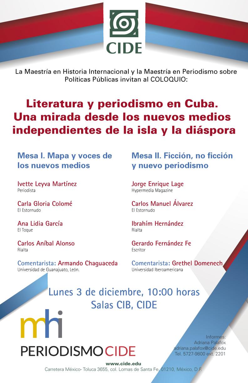 """COLOQUIO """"Literatura y periodismo en Cuba"""""""
