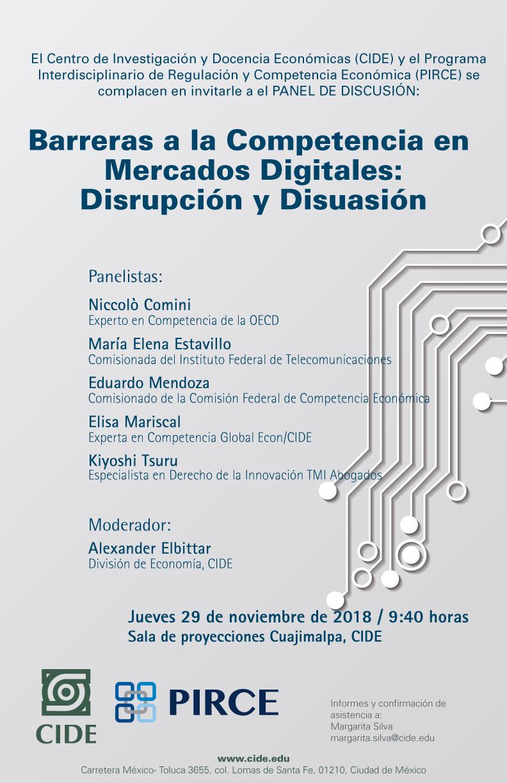 Panel de discusión «Barreras a la Competencia en Mercados Digitales: Disrupción y Disuasión»