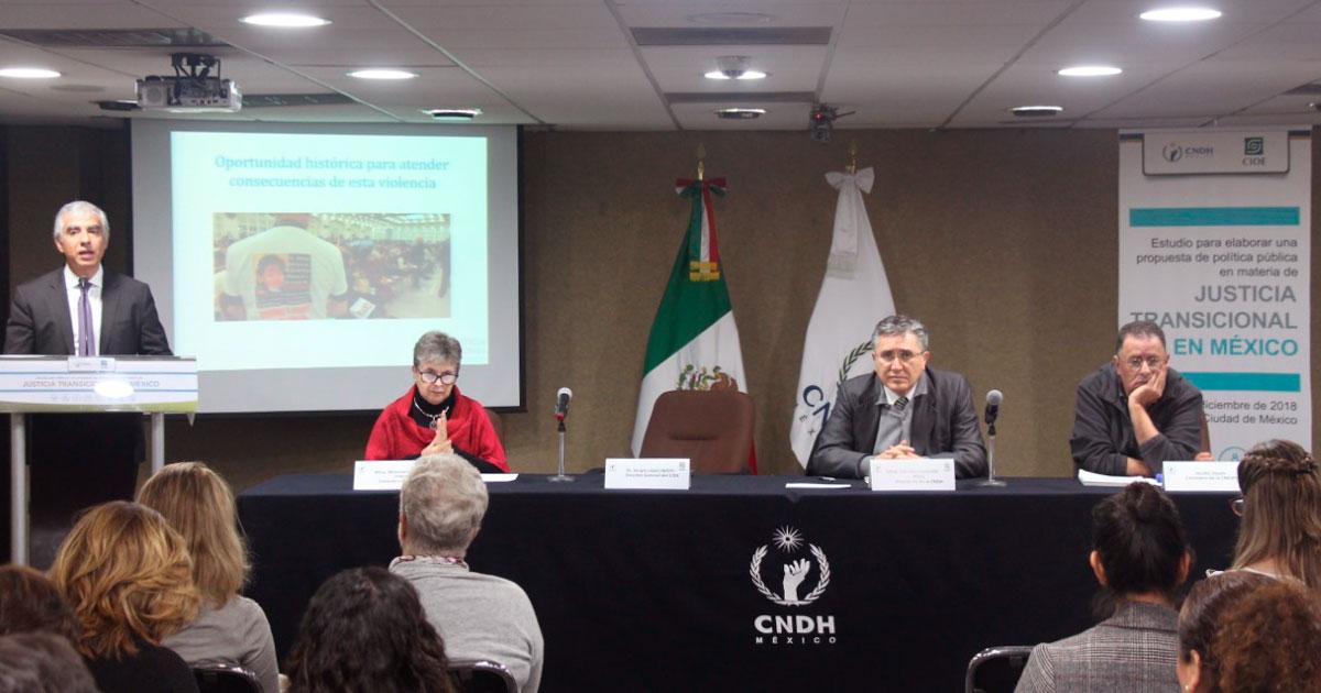 Presentan CIDE y CNDH estudio para elaborar una política pública de justicia transicional