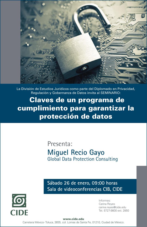 Seminario Claves de un programa de  cumplimiento para garantizar la protección de datos