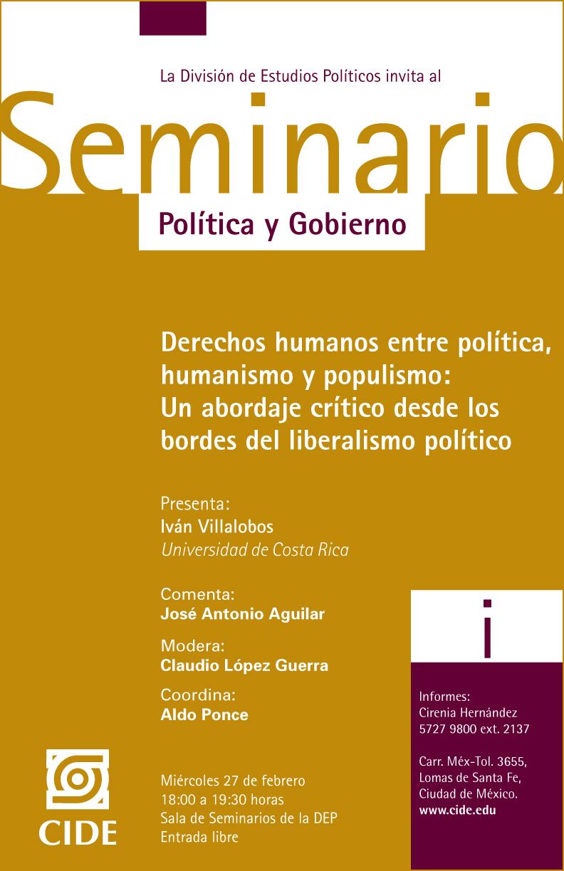 Seminario Política y Gobierno Derechos humanos entre política, humanismo y populismo: Un abordaje crítico desde los bordes del liberalismo político