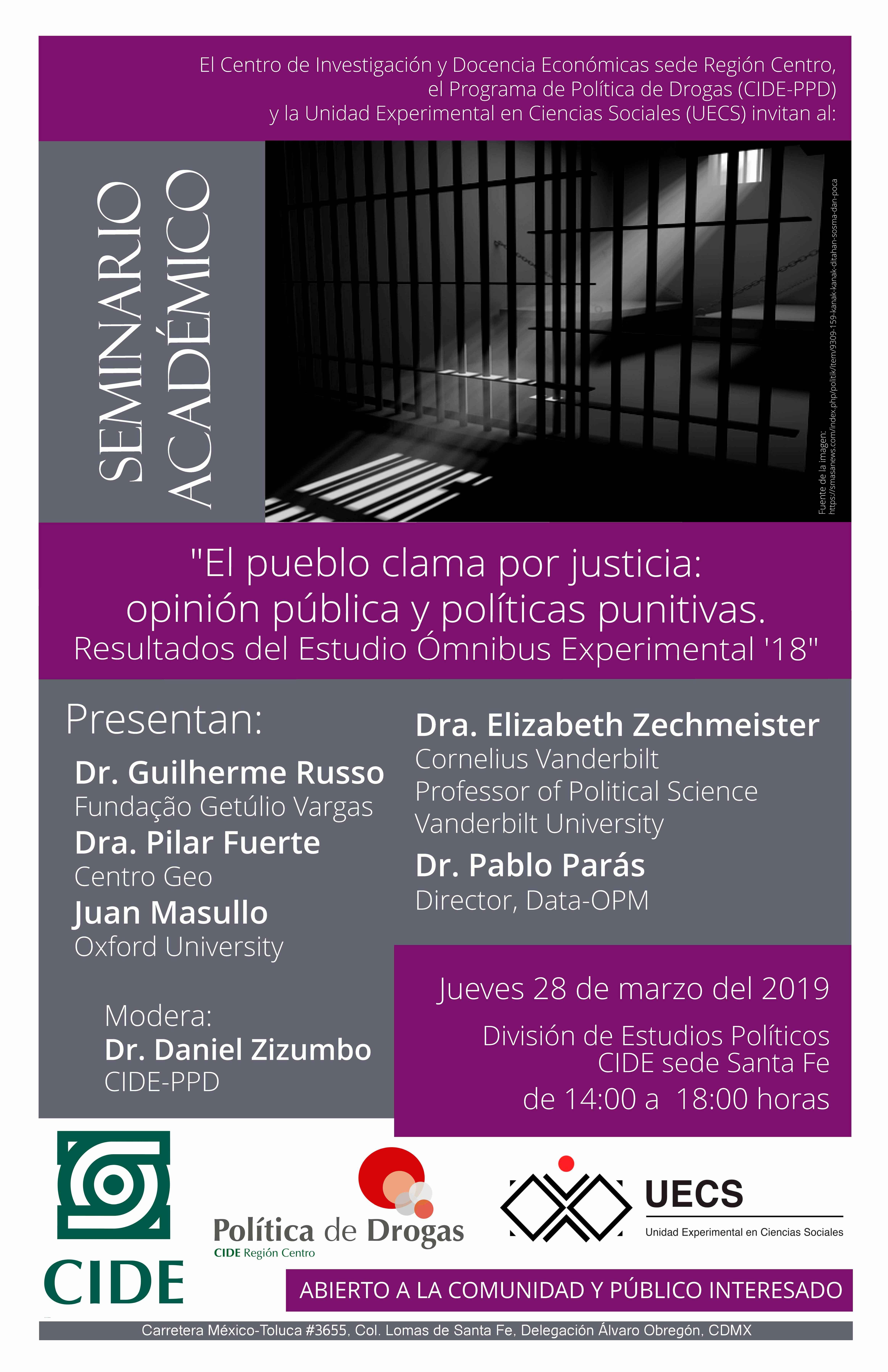 Seminario académico «El pueblo clama por justicia:opinión pública y políticas punitivas
