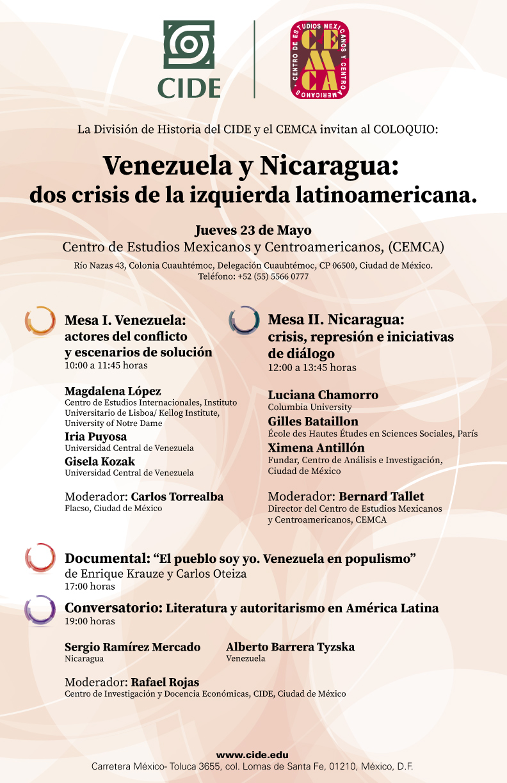 Coloquio  Venezuela y Nicaragua: dos crisis de la izquierda latinoamericana