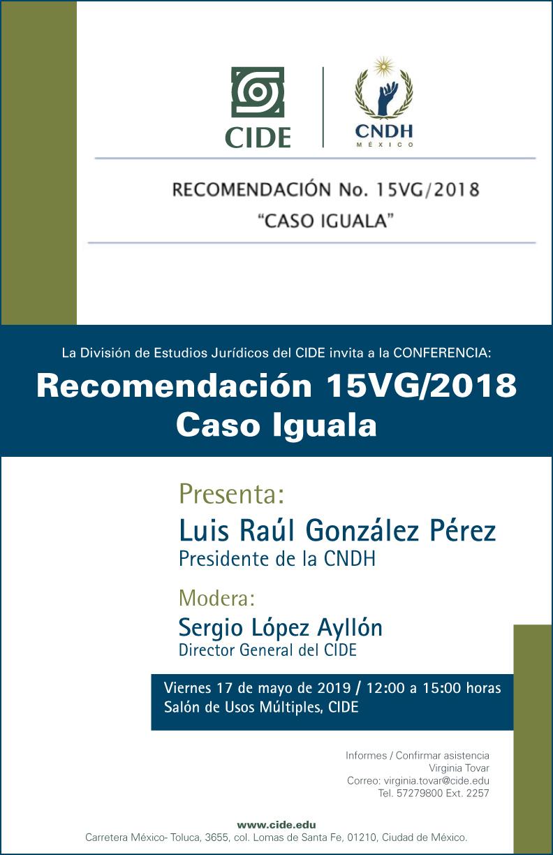 Conferencia Recomendación 15VG/2018 Caso Iguala
