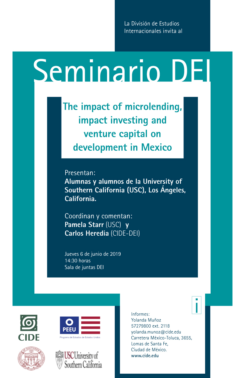 Seminario The impact of microlending, impact investing and venture capital on development in Mexico