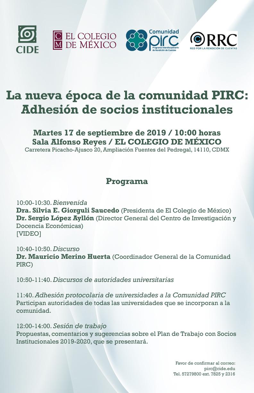La nueva época de la comunidad PIRC: Adhesión de socios institucionales