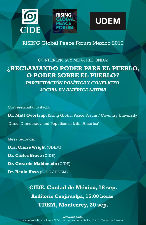 Conferencia y mesa redonda: ¿RECLAMANDO PODER PARA EL PUEBLO, O PODER SOBRE EL PUEBLO? PARTICIPACIÓN POLÍTICA Y CONFLICTO SOCIAL EN AMÉRICA LATINA