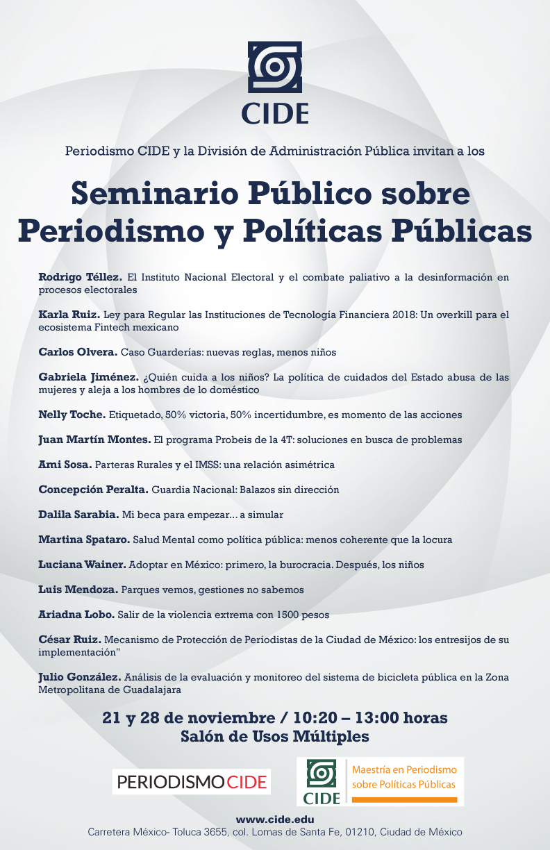 Seminario público de periodismo sobre políticas públicas