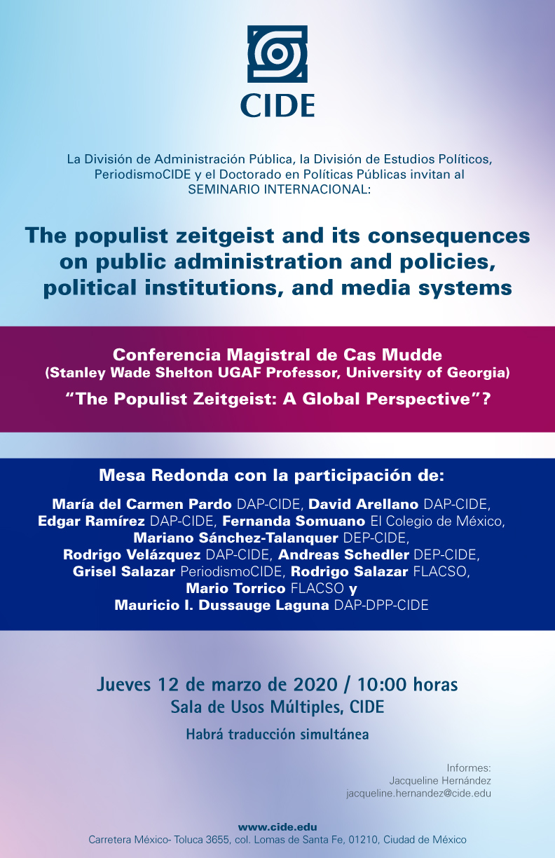 Seminario Internacional: The populist zeitgeist and its consequences on public administration and policies, political institutions, and media systems