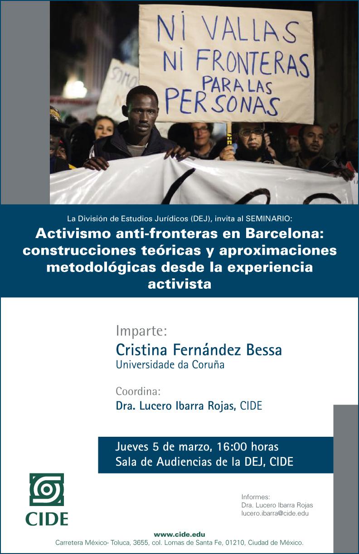 SEMINARIO: Activismo anti-fronteras en Barcelona: construcciones teóricas y aproximaciones metodológicas desde la experiencia activista