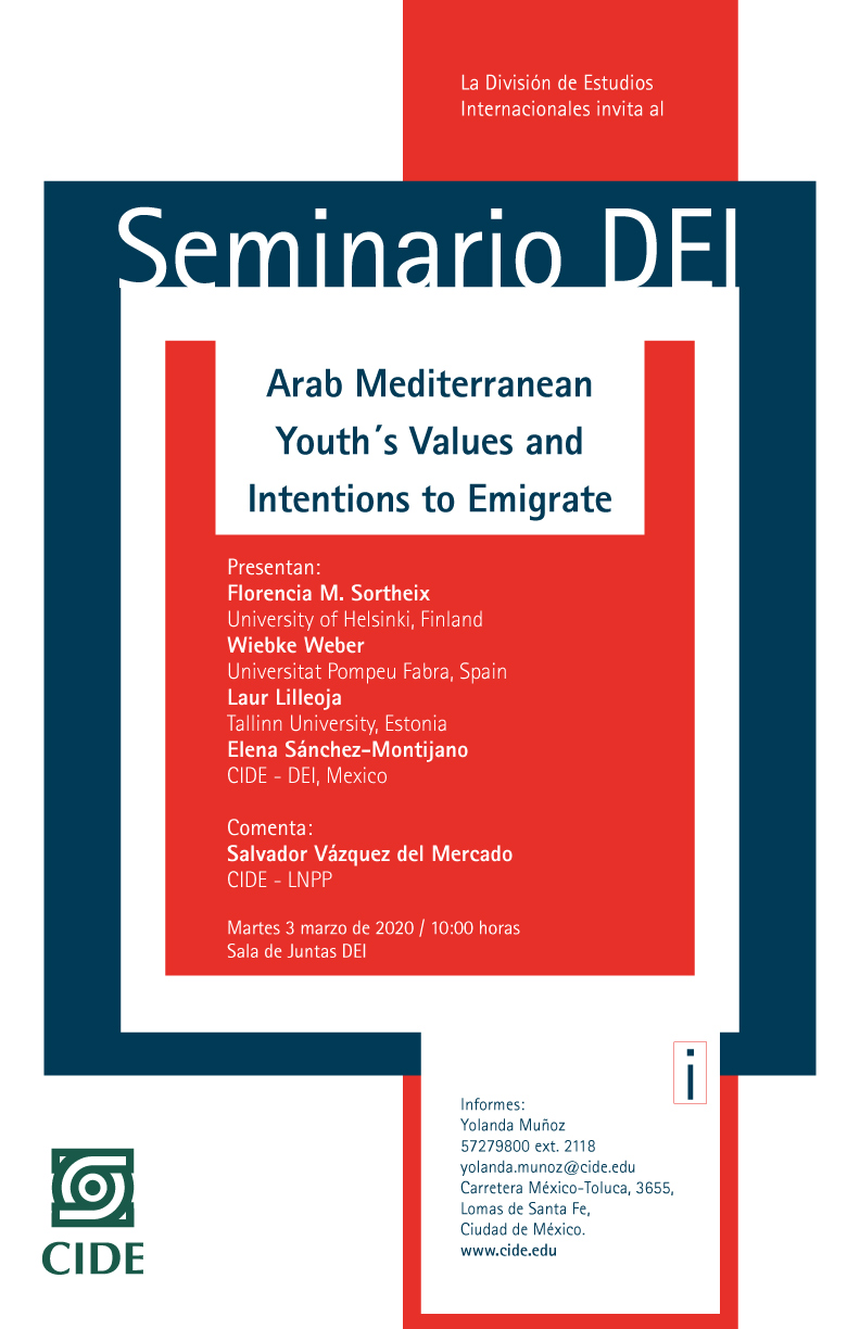 Seminario DEI: Arab Mediterranean Youth´s Values and Intentions to Emigrate