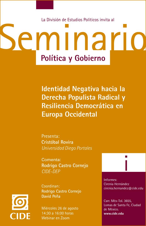 Seminario Política y Gobierno: Identidad Negativa hacia la Derecha Populista Radical y Resiliencia Democrática en Europa Occidental