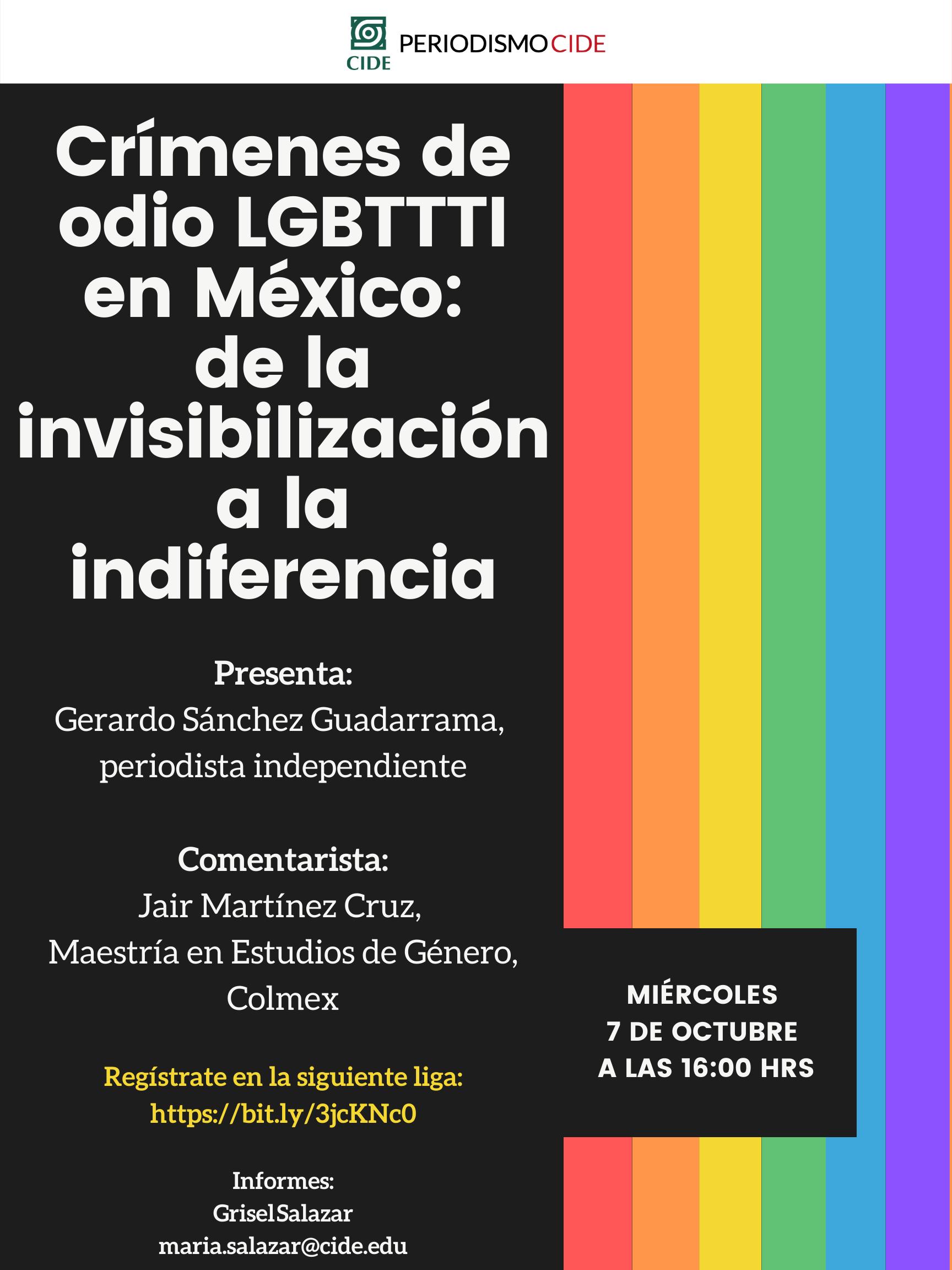 Seminario Interdisciplinario de Prensa y Poder: Crímenes de odio LGBTTTI en México: de la invisibilización a la indiferencia