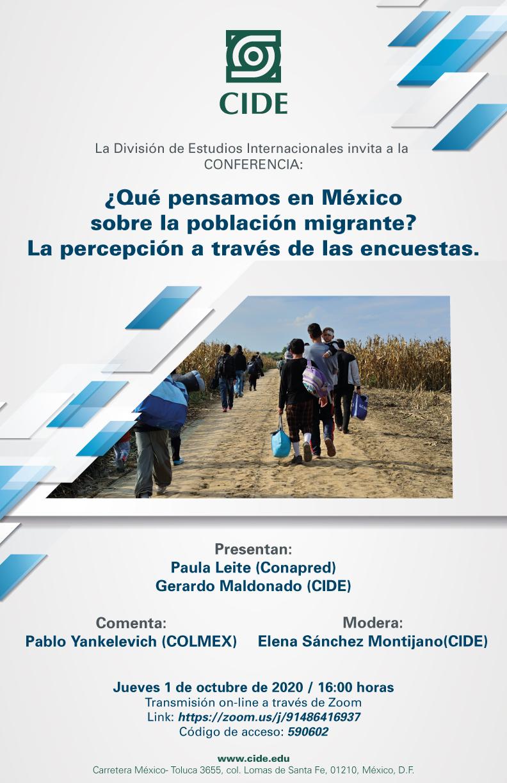 Conferencia: ¿Qué pensamos en México sobre la población migrante? La percepción a través de las encuestas.