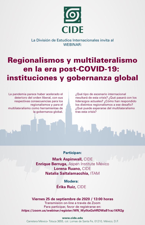 Webinar: Regionalismos y multilateralismo en la era post-COVID-19: instituciones y gobernanza global