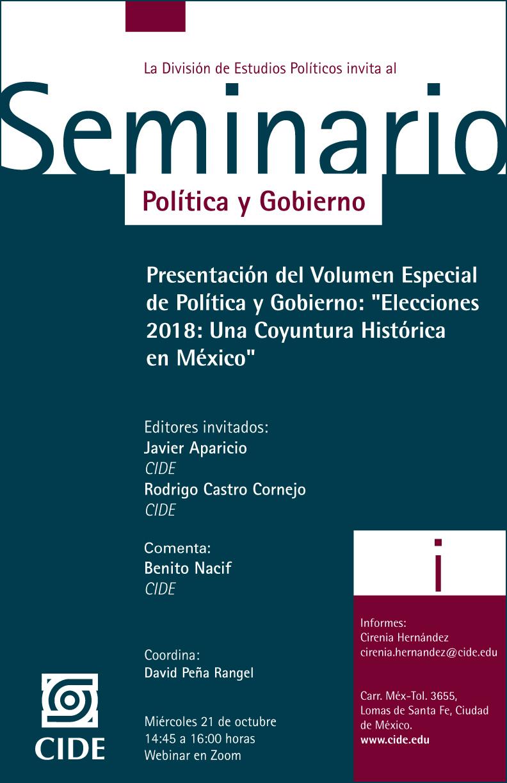 Presentación del Volumen Especial de Política y Gobierno: «Elecciones 2018: Una Coyuntura Histórica en México»