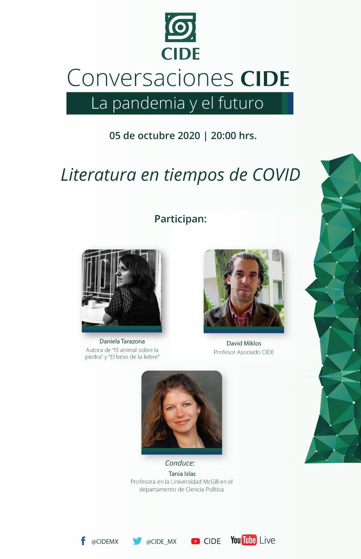 8a Sesión de CONVERSACIONES CIDE: Literatura en tiempos de COVID