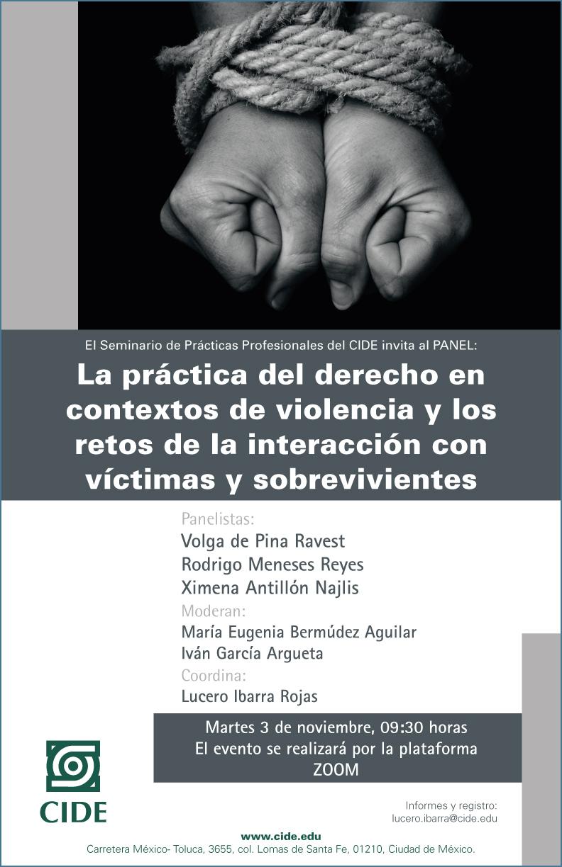 Panel: La práctica del derecho en contextos de violencia y los retos de la interacción con víctimas y sobrevivientes