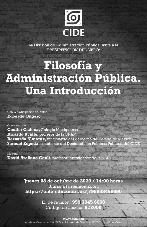 Presentación del libro: Filosofía y Administración Pública. Una Introducción