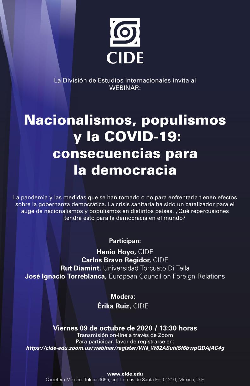 Webinar: Nacionalismos, populismos y la COVID-19: consecuencias para la democracia