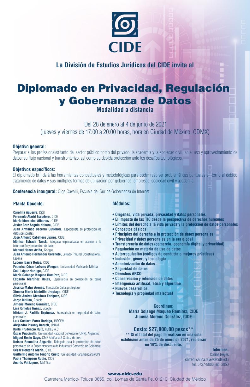 Diplomado en Privacidad, Regulación  y Gobernanza de Datos