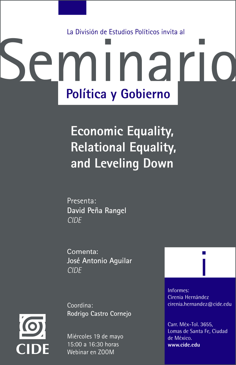 Seminario Política y Gobierno: Economic Equality,  Relational Equality,  and Leveling Down