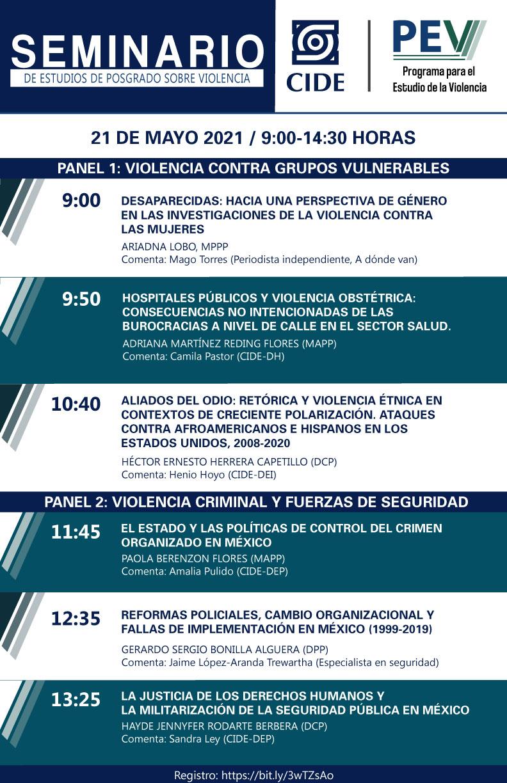 Seminario de estudios de posgrado sobre violencia: Violencia contra grupos vulnerables / Violencia criminal y fuerzas de seguridad