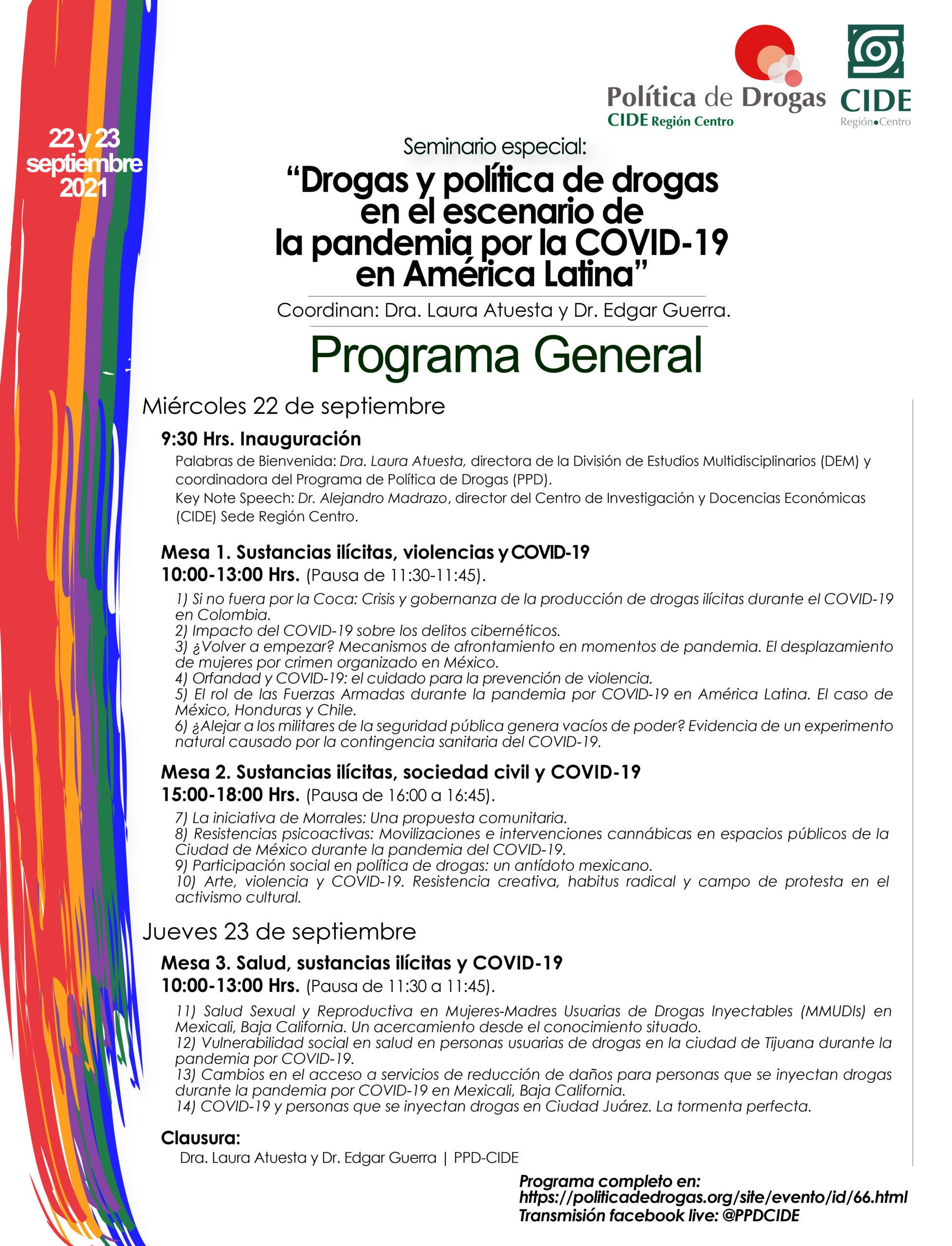 Seminario especial: Drogas y política de drogas en el escenario de la pandemia por la COVID-19 en América Latina