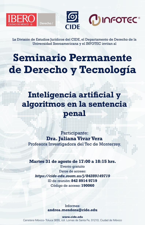Seminario Permanente de Derecho y Tecnología: Inteligencia artificial y algoritmos en la sentencia penal
