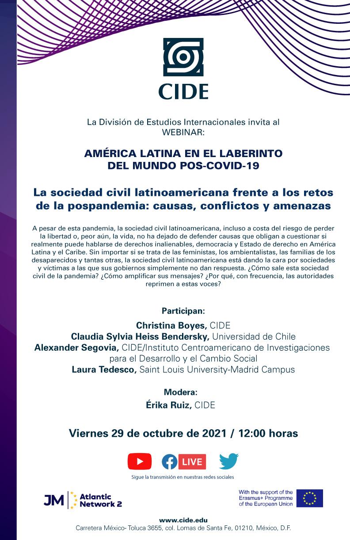Webinar: La sociedad civil latinoamericana frente a los retos de la pospandemia: causas, conflictos y amenazas